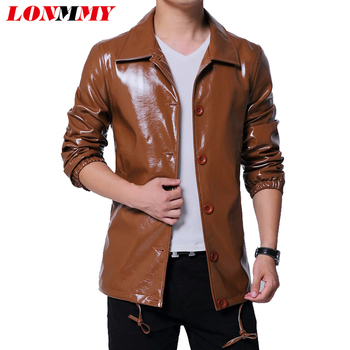 LONMMY Faux Leather jacket men Motercycle mens leather jacket and coats Slim windbreaker Yellow Outerwear chaqueta cuero hombre