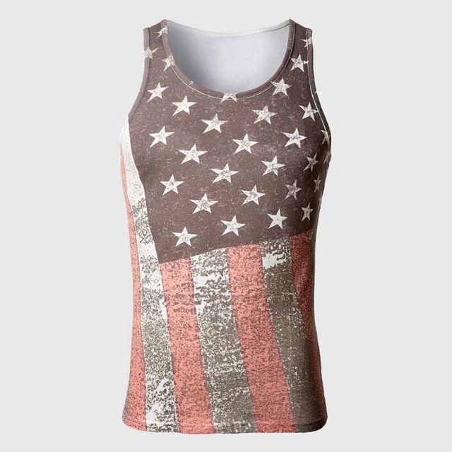 Bandeira americana Do Corpo Parte Superior Do Tanque Dos Homens Material de Algodão Coletes Tops Ganhos Musculares Listrado Estrela de Impressão Sem Mangas