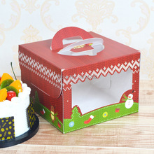 200pcs/lot 6 inch christmas Card Paper Party cake box cheese cake box Free shipping
