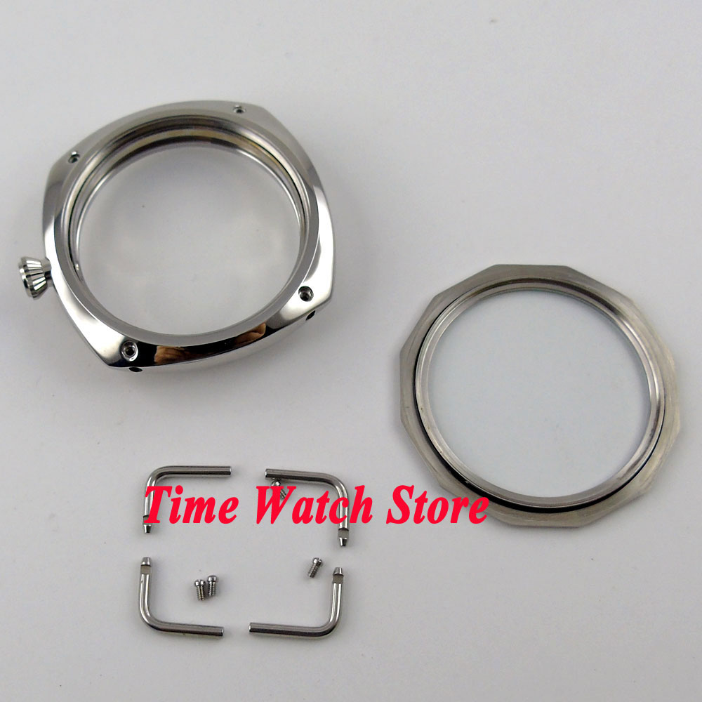 Polished 47mm PARNIS watch case 316L stainless steel screw-in crown see through back Fit ETA 6497 6498 movement C65