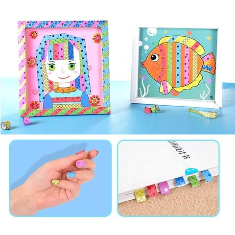 1 conjunto criancas brinquedos educativos fitas coloridas diy papel pegajoso pintura brinquedos para criancas fitas