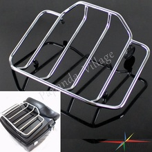 Papanda Motorcycle Chrome Steel Pack Luggage Top Rack For Harley Road King Street Glide Touring Razor Choppers Tour Pak