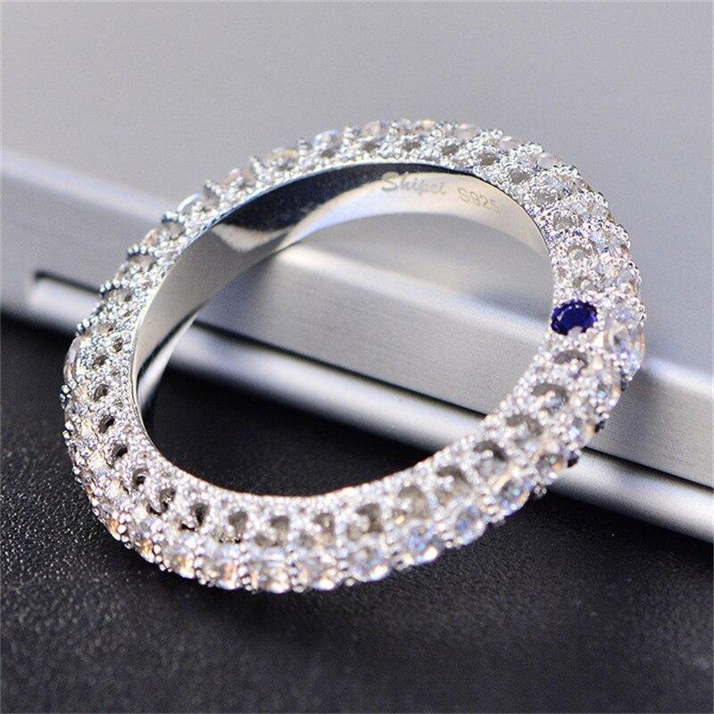 Rings For Women S925 sterling-silver-jewelry Blue Cubic Zirconia Simple Luxury Fine Jewelry Bridal Wedding Engagement RingRings For Women S925 sterling-silver-jewelry Blue Cubic Zirconia Simple Luxury Fine Jewelry Bridal Wedding Engagement Ring