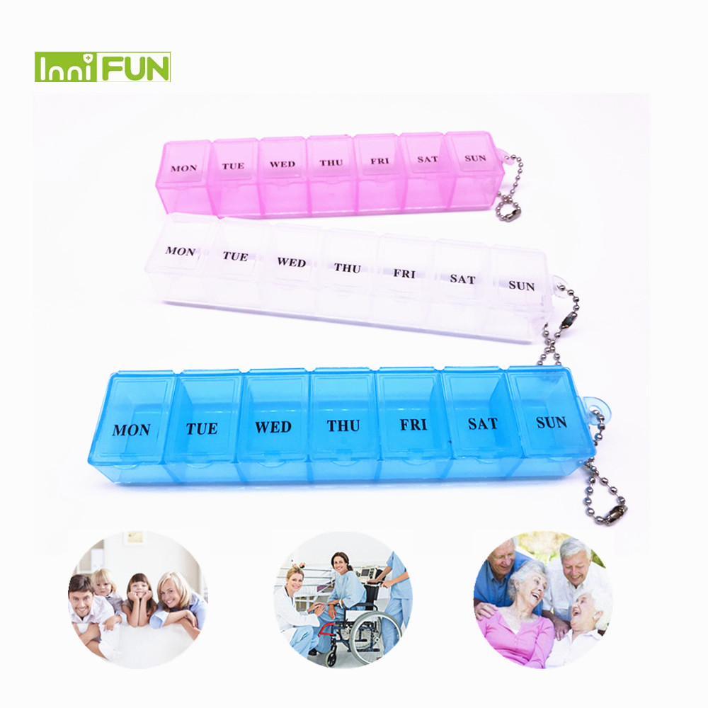 цена на 1PCS 3 Colors 7 Days Weekly Tablet Pill Medicine Box Holder Storage Organizer Container Case Pill Box Splitters