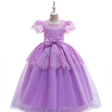 Georous  Ballgown Long Lace Purple Kids Dresses Formal Gown Birthday Party First Communion 2019