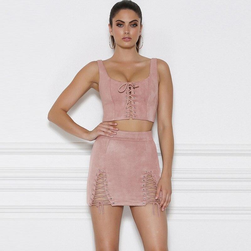 Suede Two Piece Set Sleeveless Crop Top And High Waist Mini Skirt 1