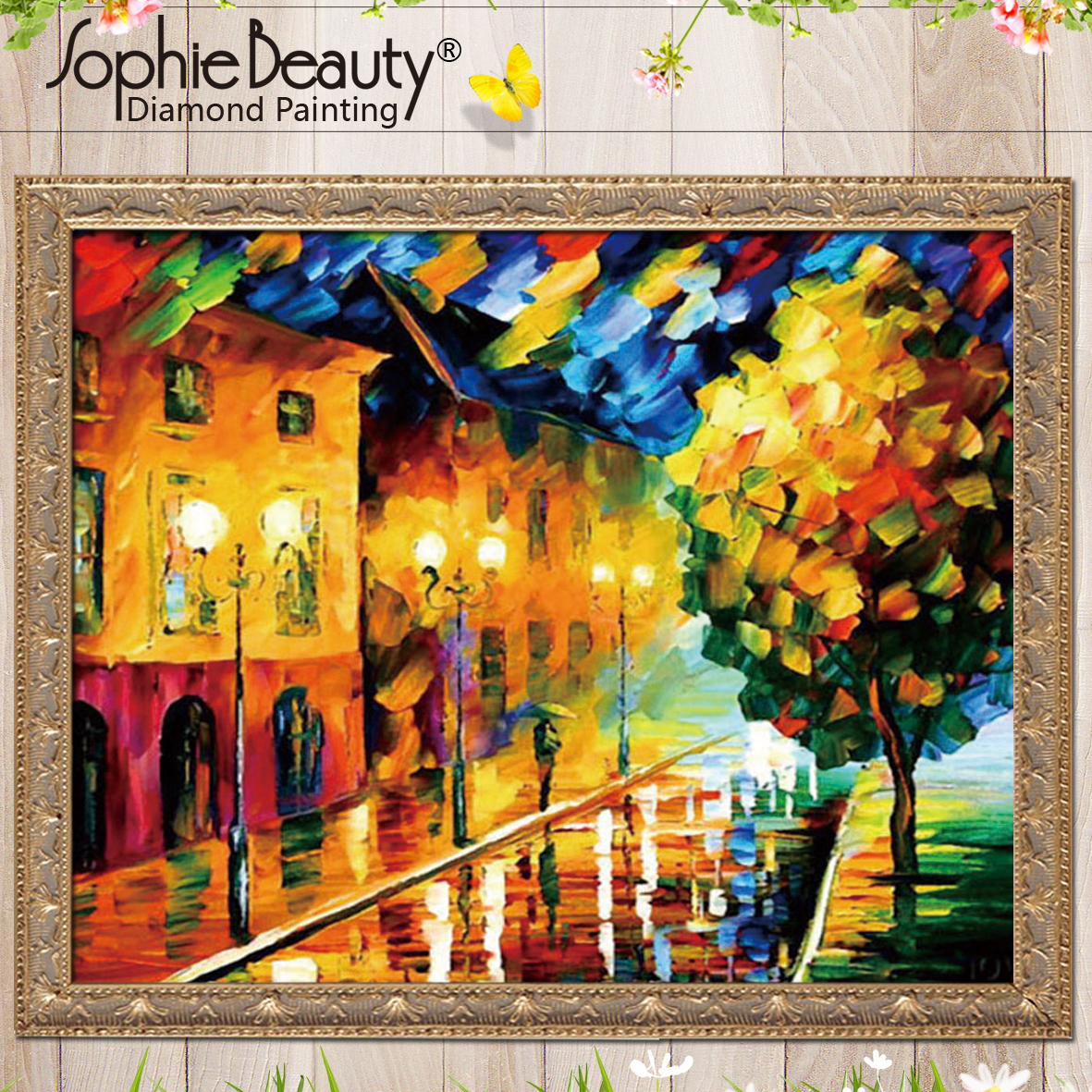 2018 Promotion Diy Diamond Painting Cross Stitch Needlework Embroidery Colorful Street Light Square Handcraft Mosaic Arts Kits