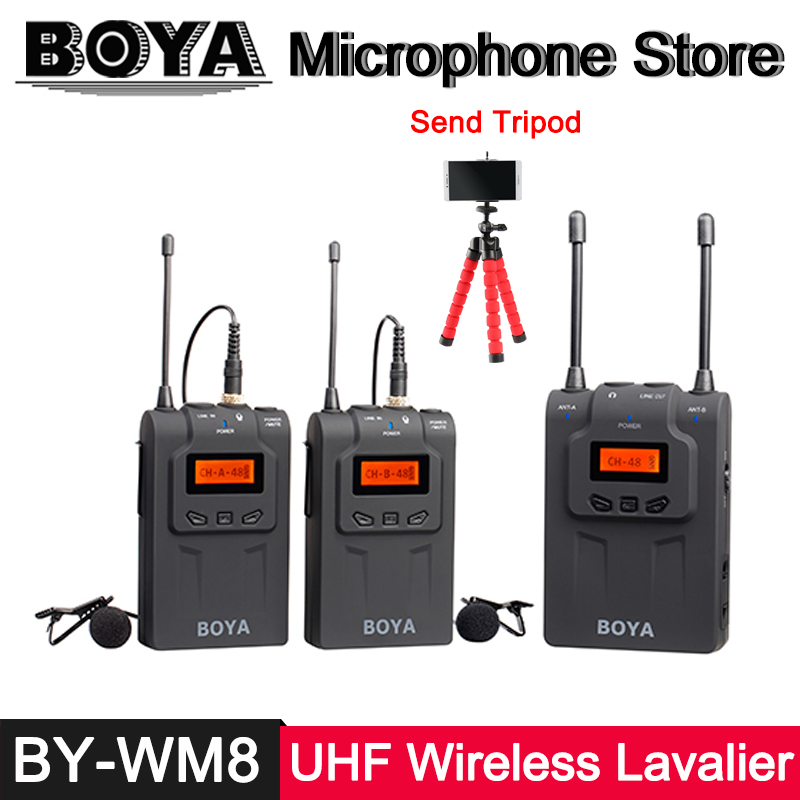 BOYA BY-WM8 Dual Channel UHF Wireless Lavalier Microphone System for Canon Nikon DSLR DV ENG EFP Interview Video Recording Mic boya uhf wireless lavalier microphone recorder system for video interview broadcast mic canon nikon dslr camera sony camcorder