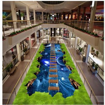 PVC floor sticker painting Murals The starry green vegetation bridge Custom Photo Floor 3D Wallpaper Modern Art