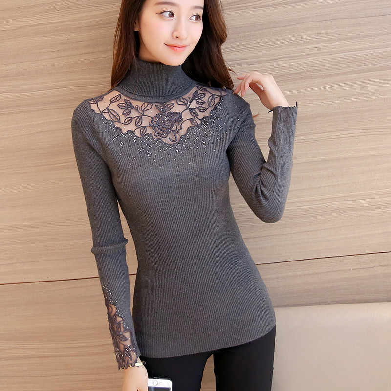 46 koreaanse winter kleding nieuwe slim gebreide kant bloem jurk shirt Revers trui F1508