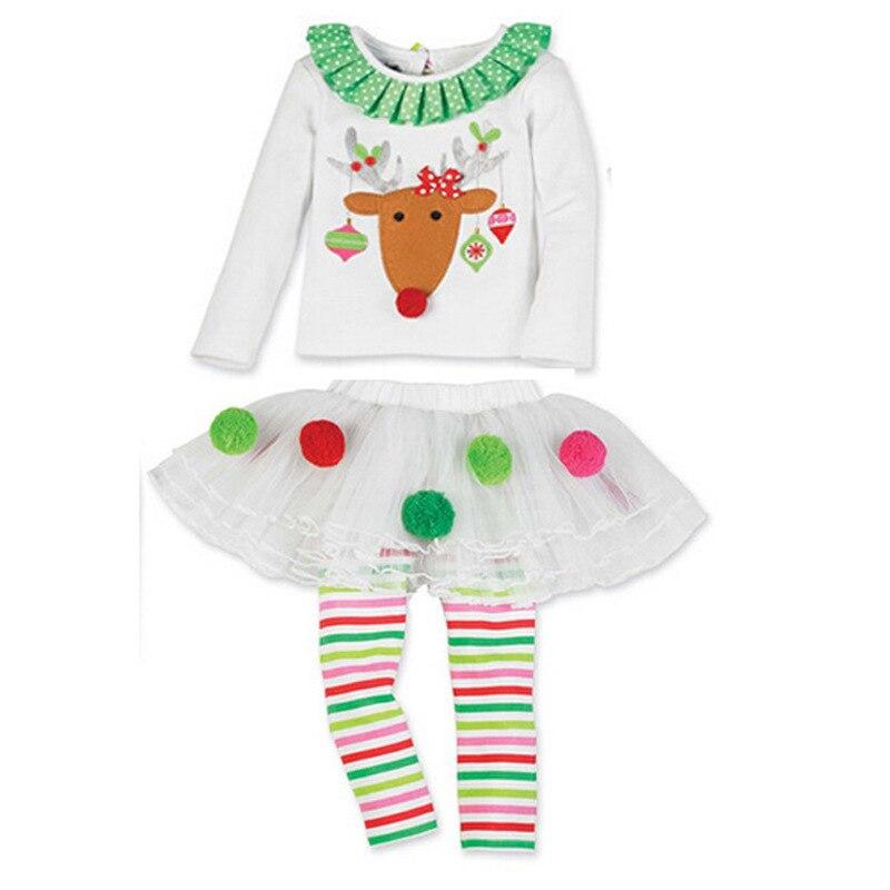 Foreign trade new girls Kids Christmas elk printed stripe T shirt + ...