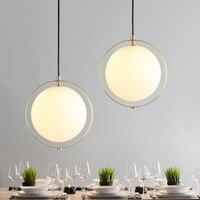 Современные украшения спальни одной головы стеклянный шар подвесной светильник белый минималистский дизайн E27 лампы освещения