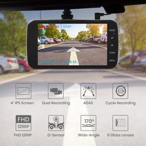 """Image 4 - Junsun câmera do traço automático adas hd completo 1296p drive recorder registrador de vídeo dvr carro com câmeras traseiras 4 """"ips tela"""