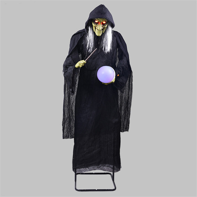Voice Control Standing Witch Holding the Glowing Ball Halloween Decoration Horror Props Screaming Witch Ornaments Creepy Ghost