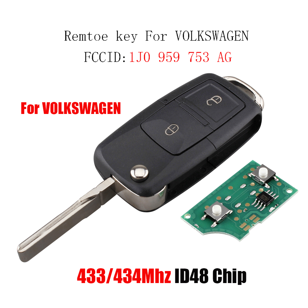 2Buttons Car Remote Key For Volkswagen Golf MK4 Polo Transporter T5 2001-2010 433Mhz&ID48 Chip For Volkswagen 1J0 959 753 AG2Buttons Car Remote Key For Volkswagen Golf MK4 Polo Transporter T5 2001-2010 433Mhz&ID48 Chip For Volkswagen 1J0 959 753 AG