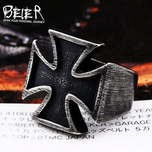 Beier 316L Stainless Steel ring Unisex Black Sureface For Woman And Man Gothic Punk Cross Finger Ring Gift Jewelry LR505(China)
