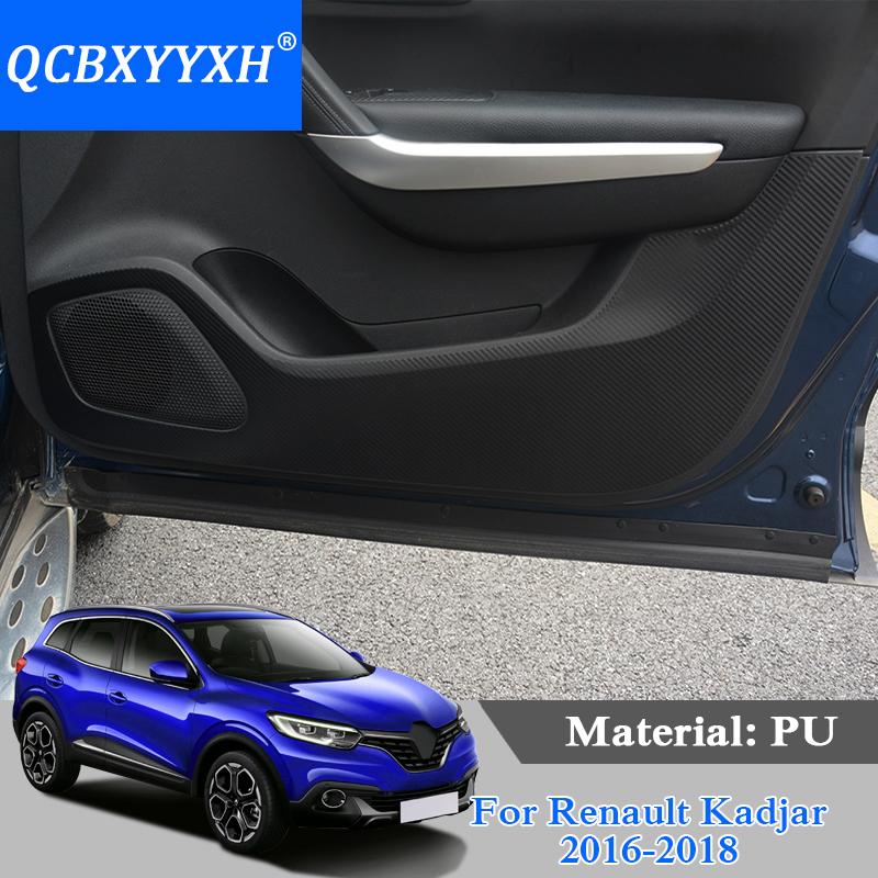 QCBXYYXH Car-Styling Protector Side Edge Protection Pad Protected Anti-kick Door Mats Cover For Renault Kadjar 2016-2018 PU