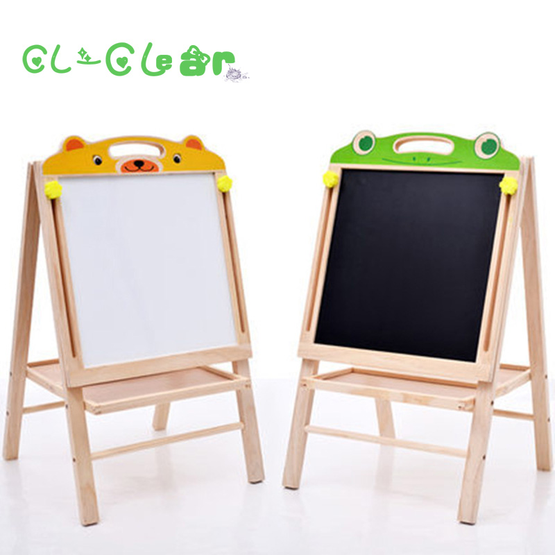 Wood Figurines Easel Racks Double-sided Magnetic Small Blackboard Brackets Baby Painting Board,Wooden Drawing Educational Toys lcll childrens wood puzzle multifunction double sided magnetic drawing board puzzle