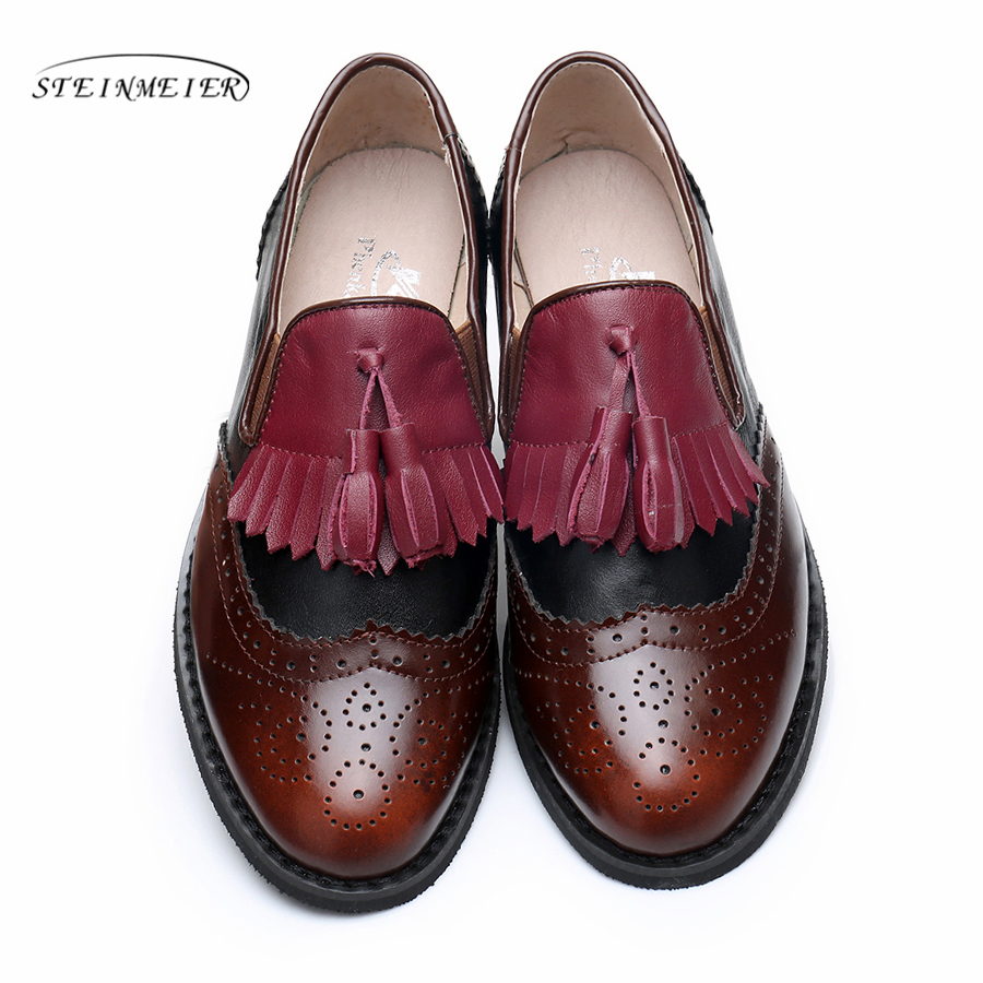 Women Genuine leather flats tassel oxford shoes vintage round toe US 11 handmade flats pink white oxfords shoes for women fur genuine leather woman size 9 designer yinzo vintage flat shoes round toe handmade black grey oxford shoes for women 2017
