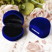 50pcs Lot Flocking Heart Shape Ring Box Casket Earring Packaging Case Wedding Jewelry Gift Packing