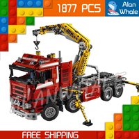 1877pcs 2in1 Techinic Motorized Crane Arm Truck Duty Wrecker 20013 Figure Building Blocks Toy Carrier Compatible With LegoING