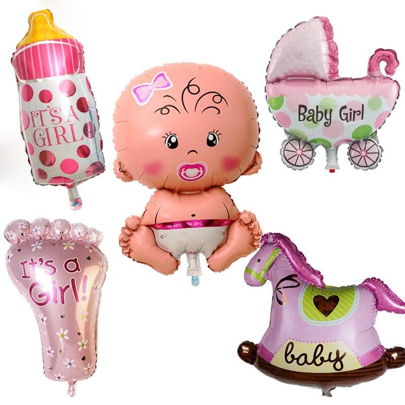 Us 156 23 Off5 Teilesatz Junge Mädchen Baby Dusche Folie Riesen Taufe Super Form Luftballons Party Deko Kinder In Ballons Zubehör Aus Heim Und