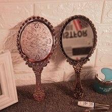 Винтажное ручное зеркало для макияжа, розовое цветочное овальное круглое косметическое ручное зеркало с ручкой для дам, косметический комод