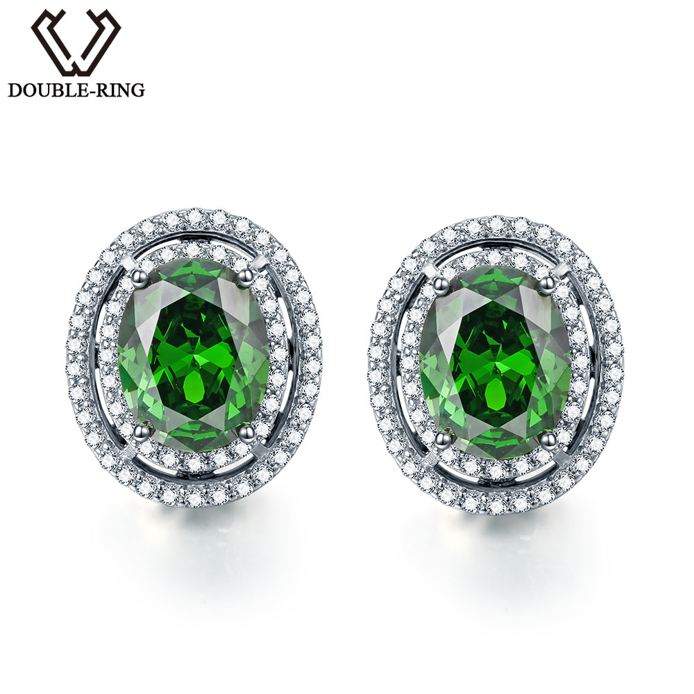 DOUBLE-R 925 sterling silver stud earrings for women Created Emerald Gemstone Bridal Vintage costume Jewelry