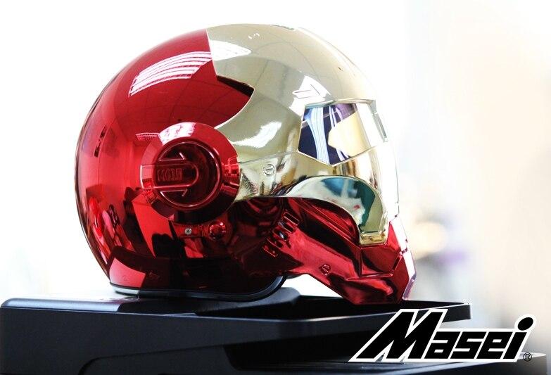 MASEI 610 placage Chrome galvanoplastie or rouge IRONMAN fer homme casque moto casque demi face ouverte casque ABS motocross - 4