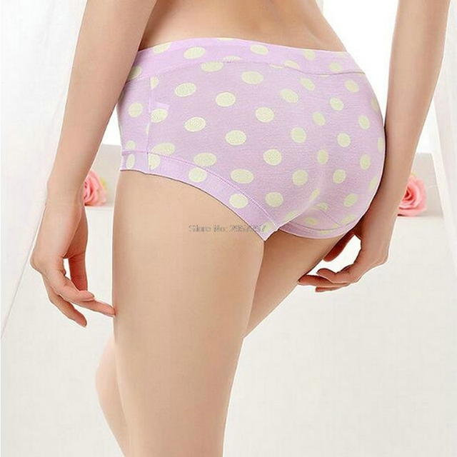 c752db4195854 1 Pcs Wholesale Dot Pattern Women Cute Pinkycolor Retro Vintage Lingerie  Briefs Modal Cotton Girls Panties