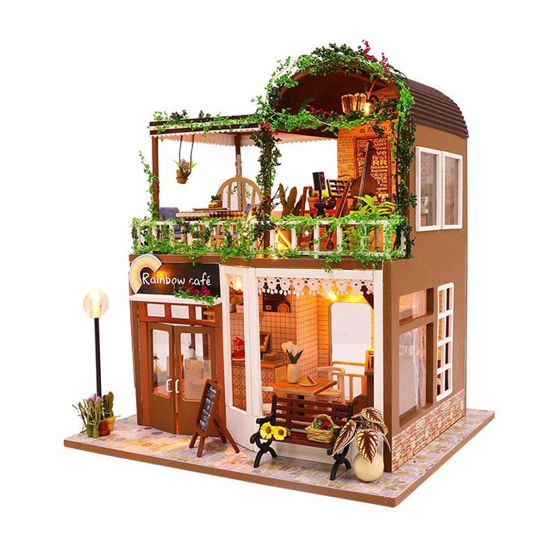 Miniature rétro café Bar Dollhouse meubles LED lumières Kit en bois café magasin Puzzle poupée maison jouet enfants anniversaire noël cadeau