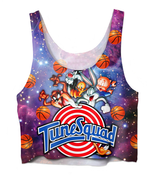 Women Tank Tops Space Jam Tune Squad Crop Top Looney Tunes Bugs Bunny  Tweety Bird Taz Daffy Duck Sylvester galaxy Cropped Vest b45065a839