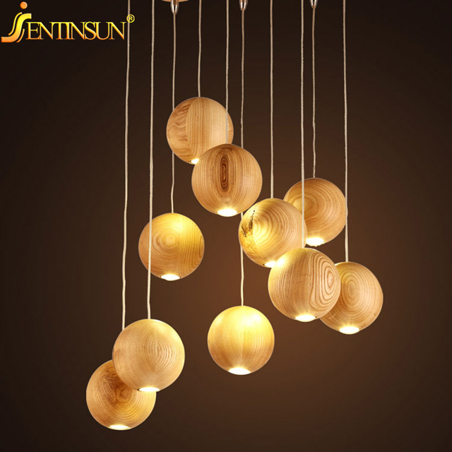 Modern Solid Wood Pendant Lamp Chinese Nordic Wooden Ball
