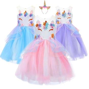 7c0f8da7d Elegante niños Unicornio vestido de tul para el bordado de las niñas  vestido de bebé flor vestidos de la princesa de boda