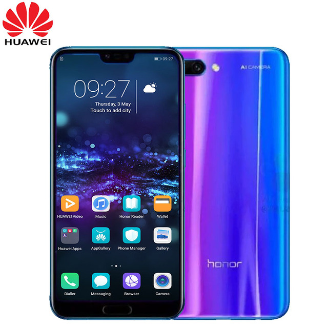 New arrival Honor 10 5.84 inch 2280x1080p Honor10 screen Mobile Phone Octa Core face ID NFC android 8.1 3400mAh battery 1