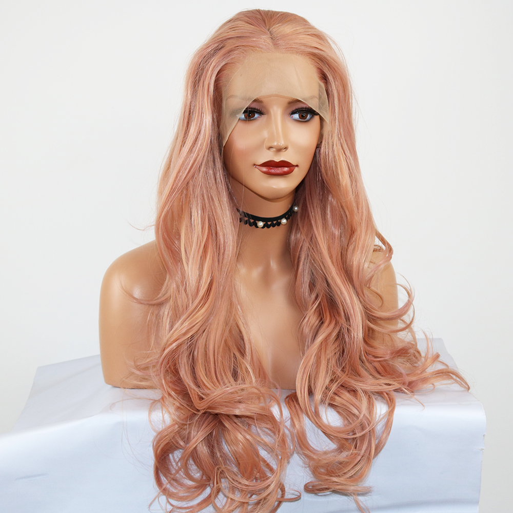 Fantasy Synthetic Lace Front Wigs Rose Gold Beauty Long Wavy Peach Pink High Temperature Fiber Lace