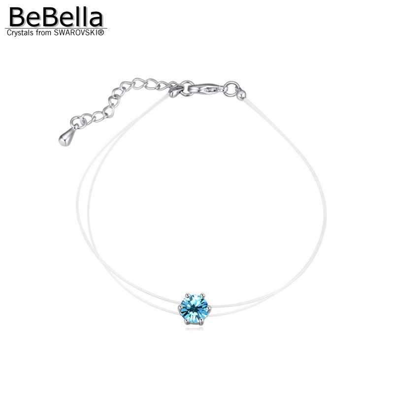 BeBella לא אלרגי בלתי נראה שקוף ברור דק שרשרת צמיד עם קריסטלים סברובסקי עבור חברה של נשים בנות 2018