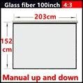 100 Inch 4:3 tela de projeção portátil de mão Manual de vidro branco com ganho de 1.3 Fixado Na Parede tela de projeção Projetor HD 3D tela