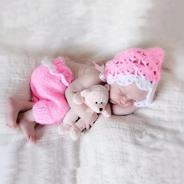 Newborn baby girls crochet photography props infant girls hat pants pics outfits photo shooting fotografia