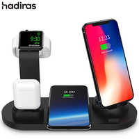 Hadinas 3 in 1 Wireless Charger for iPhone Xs XR X 8 Fast Charging Dock Station for Airpods Mobile Phone Apple Watch Stand