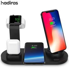 Hadinas 3 in 1 무선 충전기 for iphone xs xr x 8 airpods 용 고속 충전 도킹 스테이션 휴대 전화 apple watch stand