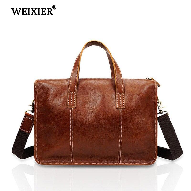 WEIXIER натуральная кожа мягкий материал мужская Изысканная Высококачественная деловая одноцветная Сумочка Классический дизайн простая сумо