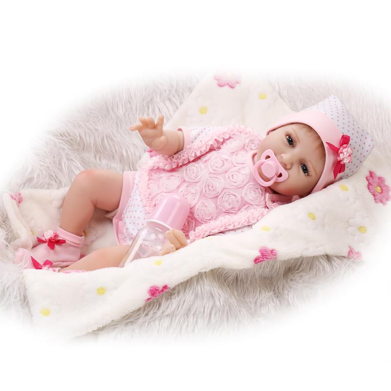 Silicone Reborn Baby Doll Toys for Girl, Lifelike Reborn Babies Play House Toy Birthday Gift Girl Brinquedods Pink Clothes Doll silicone vinyl reborn toddler doll toys for girl 55cm lifelike princess doll play house toy birthday christmas gift brinquedods