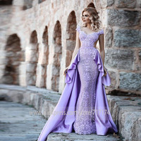 V neck Neckline Cap Sleeve Mermaid Evening Dresses Glamorous Lavender Prom Dress with Beads Lace Applique Backless Party Dress