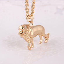 New Golden Lion Gold Chain Head Bib women men Necklace Pendant Lion Choker Jewelry collier femme(China)