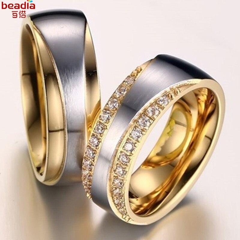 1 Teil/beutel Liebhaber Edelstahl Titan Ringe Inlay Kristall Runde Silber Gold Farbe Paar Persönlichkeit Ringe Für Frauen Schmuck Profitieren Sie Klein
