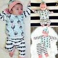2016 Младенческая Baby Girl Boy Одежда Перо Хлопок Топы футболка + Брюки + Шляпа 3 шт. Костюмы Одежда набор