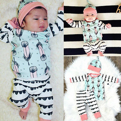 2016 Infant Baby Girl Boy Clothes Feather Cotton Tops T-shirt+Pants + Hat 3pcs Outfits Clothing Set 2pcs set baby clothes set boy