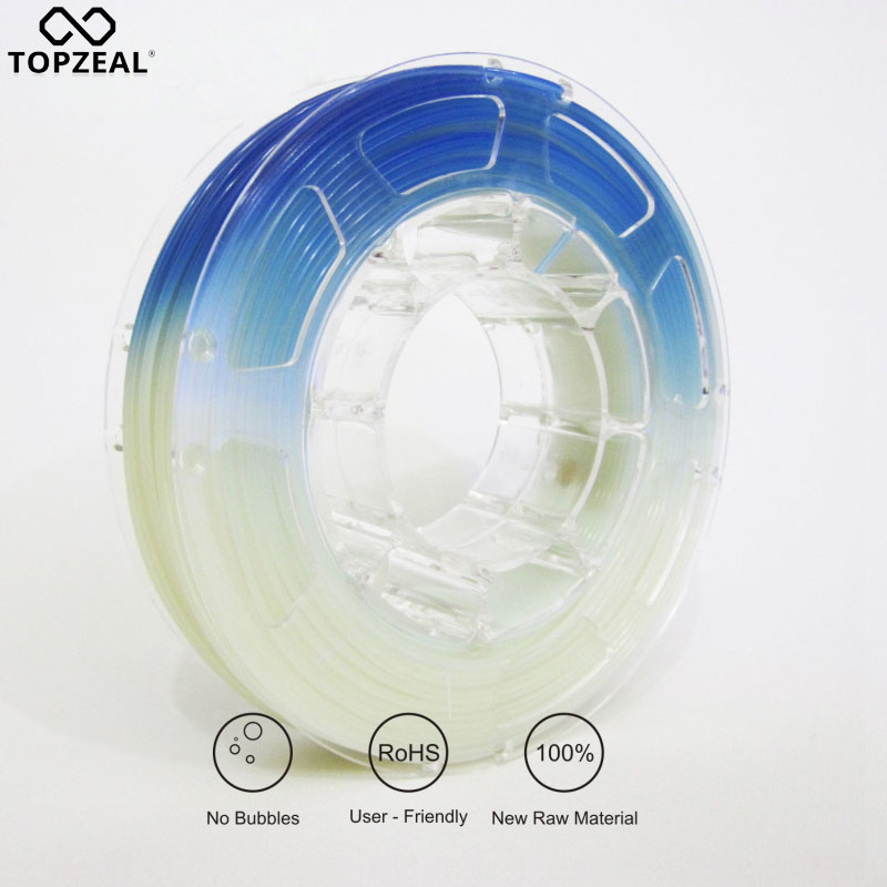TOPZEAL 3D Printer PLA Light Change Color Filament, Dimensional Accuracy +/- 0.05mm, 1KG Spool, 1.75mm