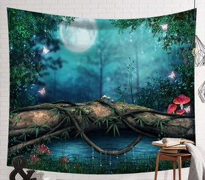 Image 4 - CAMMITEVER Fantastic Scenic Forest Cabin Green Light Big Red Mushroom Hanging Living Print Wall Tapestry Decoration New Tapestry